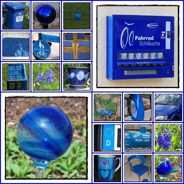 Collage, blau